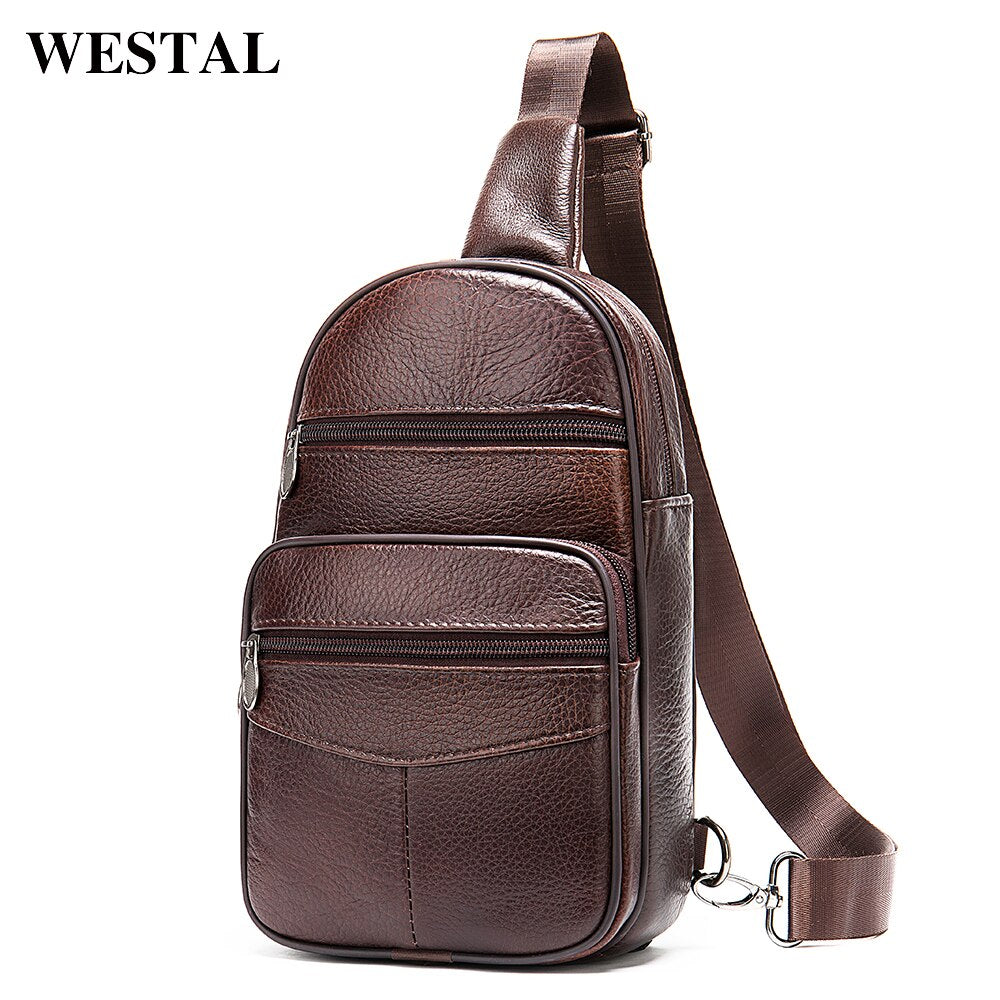 WESTAL Men's Bag Genuine Leather Sling Bags Men Messenger Crossbody Bags for Men Vintage Men's Shoulder Bag Male Chest Packs 720