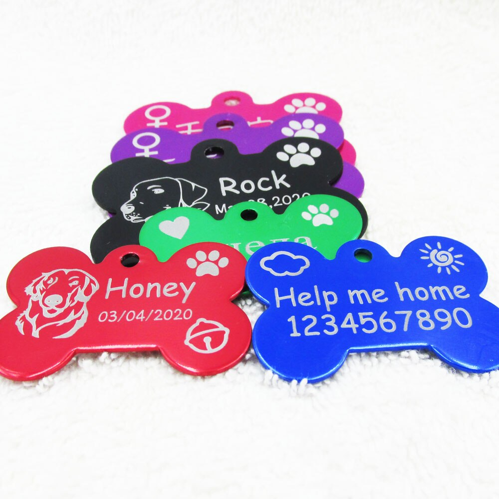 Anodized Pet Dog ID Tags Cat Identity Tags Aluminum Laser Engraved Bone Dog Tags