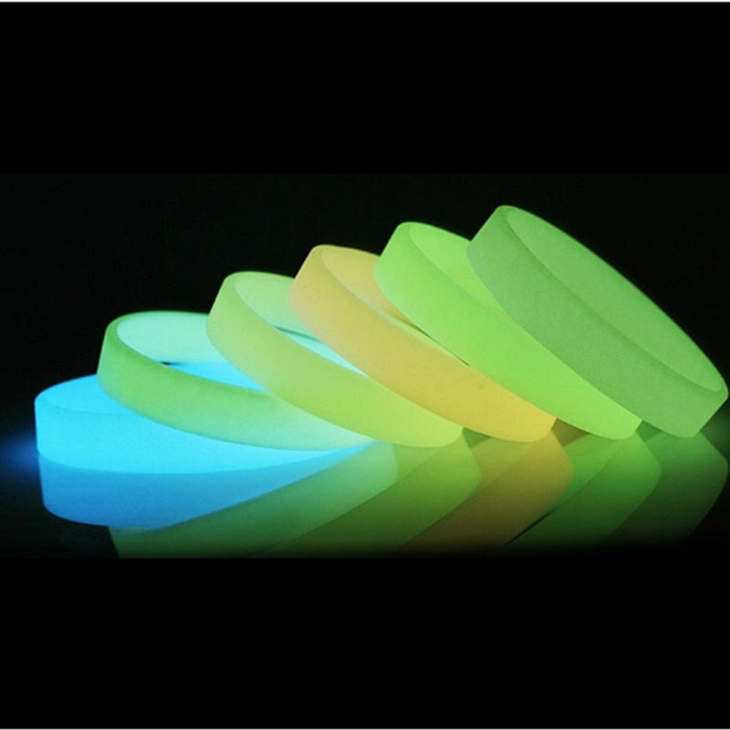 Silicone Luminous Rubber Sweat Band Men Women Bangles Basketball Sports Wristbands Silicone Bracelets 8 Colors