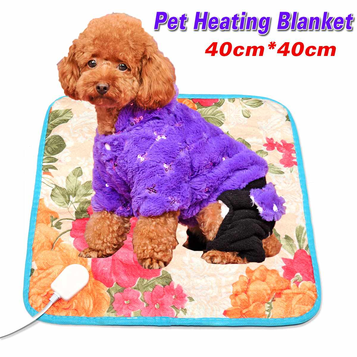 40*40cm 18W Dog Cat Electric Heat Pad Temperature Adjustable Pet Bed Blanket Puppy Bunny Heater Mat Autumn Winter Cushion