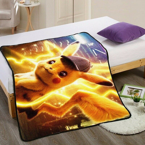 Anime Pikachu GO Smile Blanket Mat Fairy Tail Bizarre Adventure Tapestry Soft Bedspread Beach Towel Warm Travel Towel