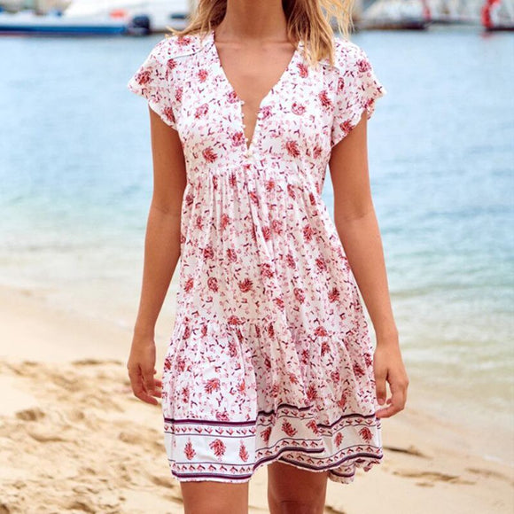 Summer Dress 2020 Floral Print Vintage Boho Dress Beach Mini Short Sleeve Ruffles Bohemian Dress Woman V Neck Sundress New