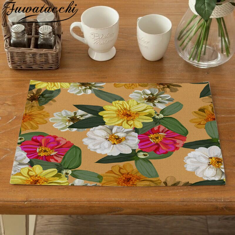 Coffee Tea Place Mat Linen Butterfly Dining Table Placemat Tableware Fiber Pad Coaster Happy Eid Party Supplies Table Placemats