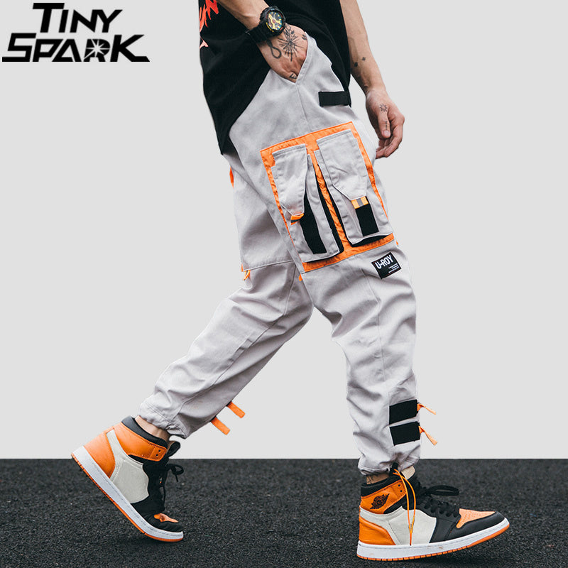 Men Multi Pocket Harem Cargo Pants Tapered Trousers Hippie Casual Chain Ankle
