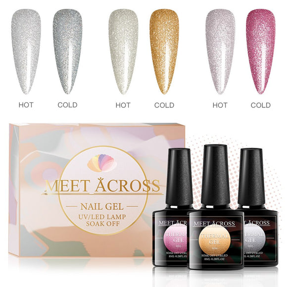 2 Colors Temperature Color Changing Thermal Color Changing Nail Gel Set Glitter Effect Nail Gel Polish Soak Off UV Gel Varnish