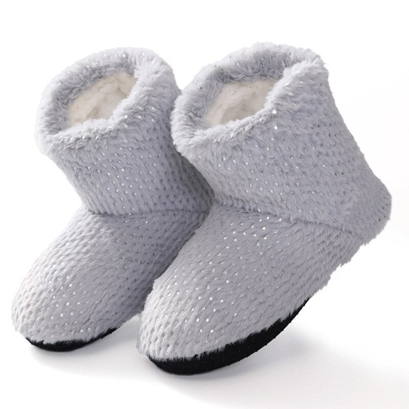 Winter Woman Slippers Bling Plush Keep Warm Home Slippers women Non Slip Flat Bedroom Slippers Solid Comfy Soft Shoes for Home