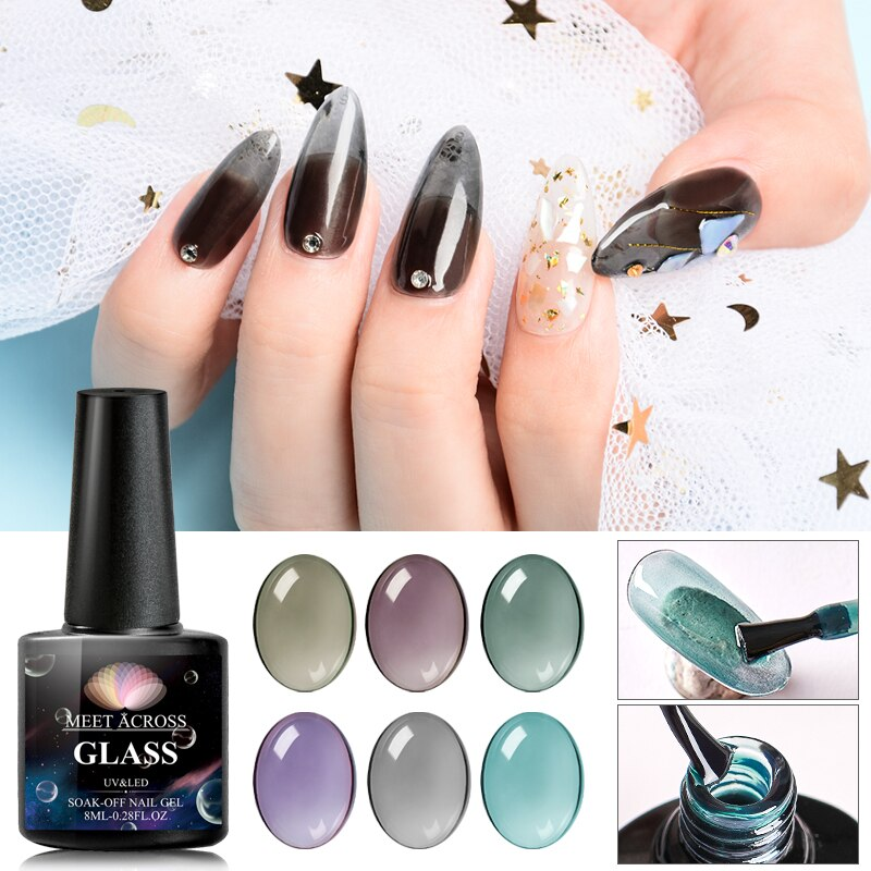 6pcs/set Jelly Glass Gel Nail Polish Semi Permanent Soak Off UV LED Gel Nail Polishes Lacquer Nail Art Tips Design Manicure