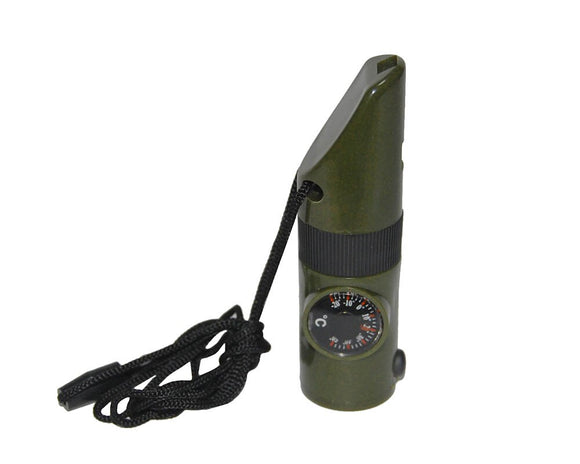 7 in1 whistle multi-function whistle plastic compass flashlight temperature Outdoor camping supplies seeking rescue