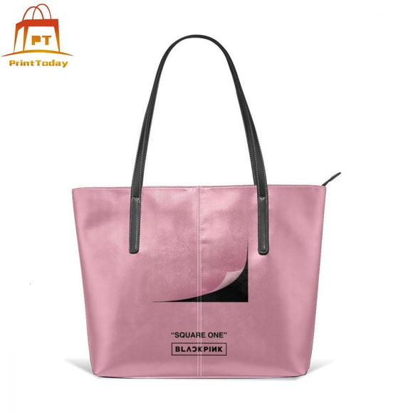 K Pop Blackpink Handbag BLACKPINK Square One Top-handle Bags Womens Print Leather Tote Bag Teen Wide High quality Women Handbags