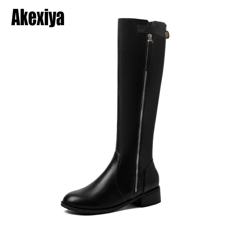 2020 New Sexy Party Shoes Woman Knee-High Boots Girls Dress Low-heeled Women Boots Bright Leather Long Boots size 43 u328