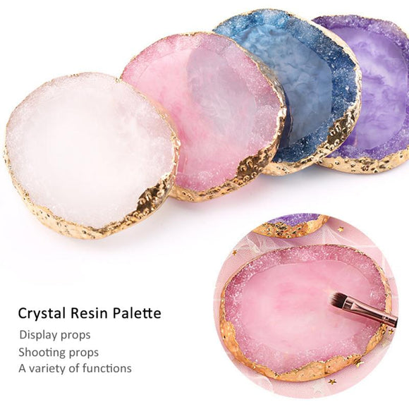 4 Color Natural Resin Agate Nail Color Mixing Palette Gel Nail Polish Drawing Holder Shelf Color Paint Palette DIY NailArt TSLM1