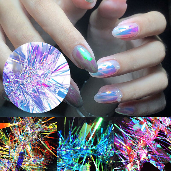 RBAN NAIL Broken Glass Colorful Nail Stickers Nail Glass Nail Polish Tips Nail Art Decorations Accessories