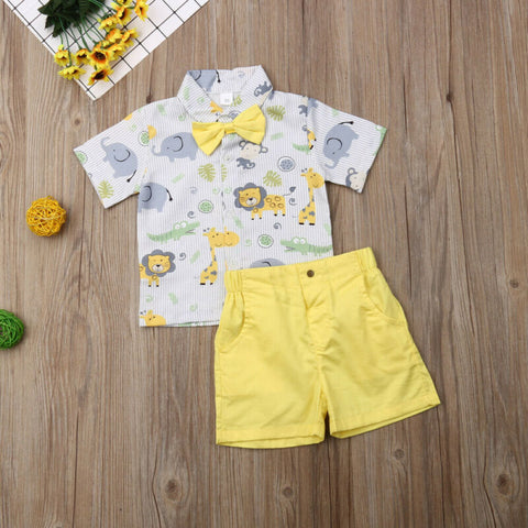 Baby Boy Toddler Kids Animal T-Shirt Tops+Shorts Pants Outfits Summer Clothes
