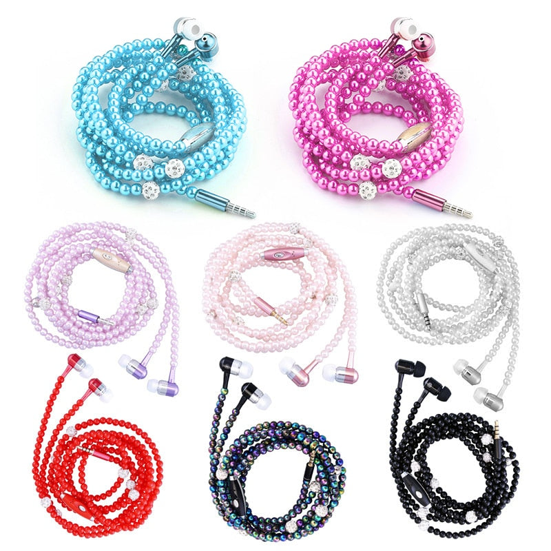 8 Colors Pink Girl Pearl Necklace Earphones With Microphone Earbuds Anti-skid Brithday Gift For Xiaomi Huawei Samsung