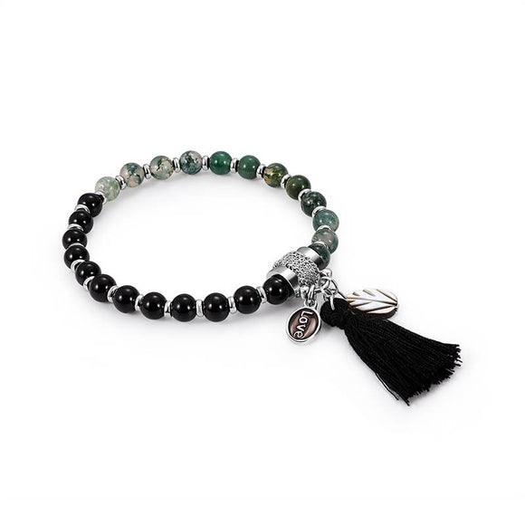 Boho Pendant Natural Stone Love Green Black  Bead Bracelet  Charm Round Chain Beads Bracelets Jewelry for Women Friend Gift