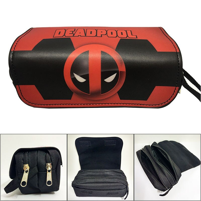 Casual Double Zipper Bag Marvel Deadpool PU Leather Purse Large Capacity Students Pencil Pouch Girl Kids Hero Organizador Bags