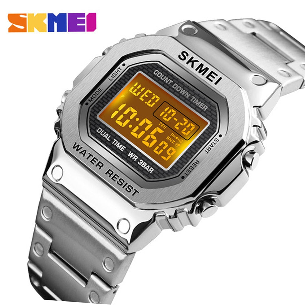 skmei 1456 Men G-Style Digital Watch Stainless Steel Chronograph Countdown Wristwatches Shock LED Sprot Watch skmei montre homm