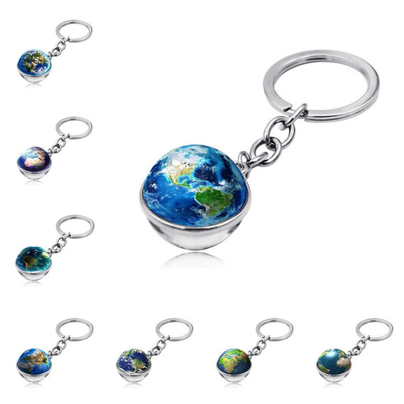 Keychain Car Ornament Creative Keyring Double-Sided Glass Ball  Jewelry For Men And Women Moto Keychain Car Key Ring Accessories