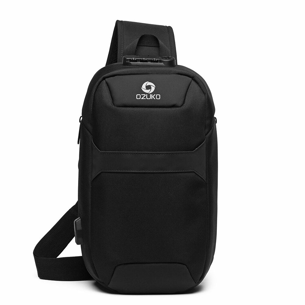 Multi-Function Man's Chest Jogging Bags Portable Fashion Large Capacity Bag Waterproof Anti-Theft USB Charge Port Chest Pack