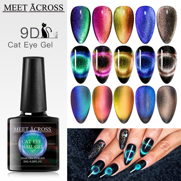 8ml 9D Magnetic Cat Eye Nail Gel Polish Set Kits With Magnetic Stick Magnet Cat Eye Varnishes Hybrid Nails Art Soak Off UV Gel