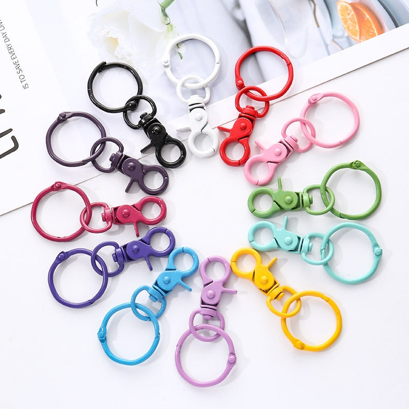 5pcs Color Paint Keychains  DIY Women Fashion Jewelry Accessories Metal Binder Clips Key Ring High Quality Keychains Handmade