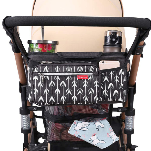 Baby Stroller Organizer Bag with Cup Holders Universal Lekebaby Mummy Diaper Bags Outdoor Travel Hanging Carriage Mommy Bag