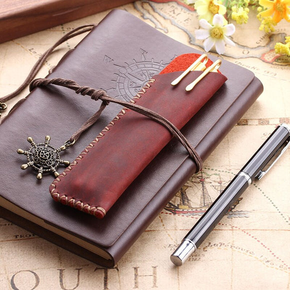 Vintage Genuine Leather Pen Pouch Holder Pencil Bag Case Cowhide Fountain Pen Case Holder Travel Journal School Office Supplies