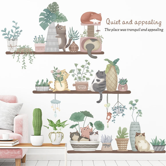 Cute Cat Flowerpot Potted Wall Stickers for Living room Bedroom Kitchen Dining room Wall Decor DIY Decals
