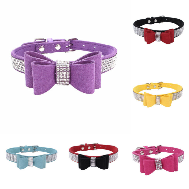 Suede Leather Rhinestone Adjustable Soft Dog Collar Pet Buckles Supplies Accessories For Dog Cat