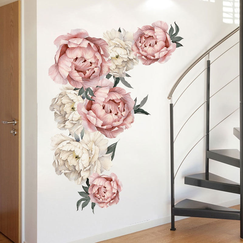 Retro Peony Flower Wall Stickers Living room Bedroom Kids room Kitchen Dining room DIY Vinyl Wall Decals Home Decoration