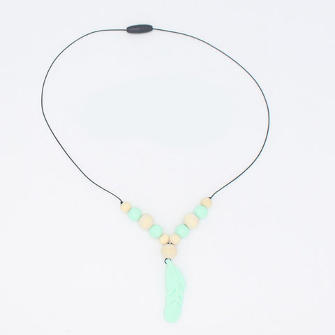 Baby Silicones Teether Chain Charm Feather Bead Necklaces Teething Toy PM