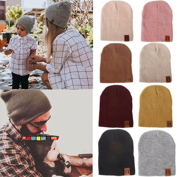 Knitted Beanie Hat Winter Warm Unisex Mens Kids Baby Ladies Ski Skull Cap