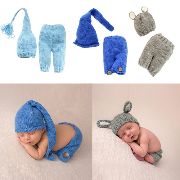 2 Pcs/set Baby Photography Props Costume Newborn Infant Pants Hat Suit Girls Boys Crochet Pant Doll Cap Photo Shooting Clothes
