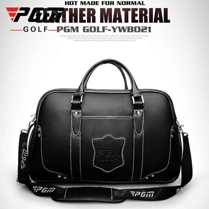 Pgm Genuine Leather Golf Clothing Bag Men's Women High Capacity Handbag Built-In Shoes Bag Golf Package D0075