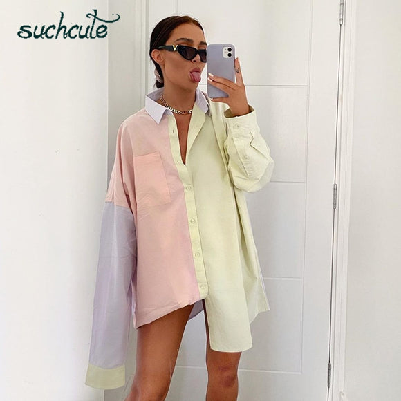 SUCHCUTE contrast color Women Blouse irregular zaraing Shirt oversize summer 2020 y2k aesthetic Tops Women's clothing 90s outfit