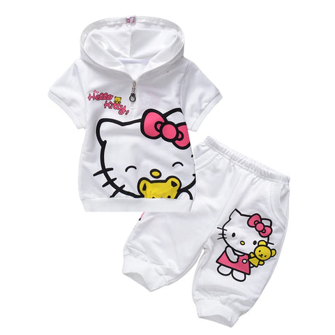 2PC Infant Baby Girls Boy Cartoon Penguin Hooded Tops Sweatshirt Pant Outfit Set