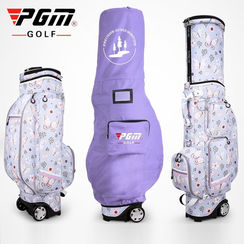 Pgm Golf Travel Standard Bag Wheels Stand Caddy Airbag Flight Aviation Bags Retractable High Capacity Golf Cart Bag D0476