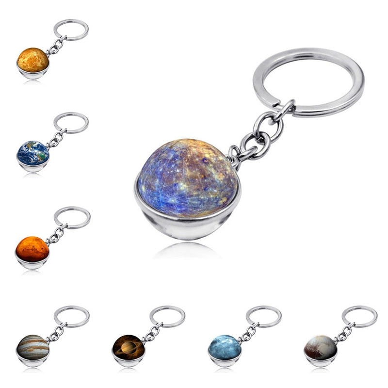 Key Ring Car Keychain Solar System Keyring Double Side Glass Ball Keys Holder Chain Motorcycle Keychain Auto Accesorios Interior