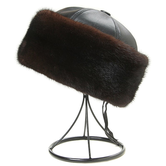 Winter Caps Men Bomber Hats Real Mink Fur Cap Outdoors Warm Thicken Man Cap Retro Stylish Aviator Hat Russian leather with fur