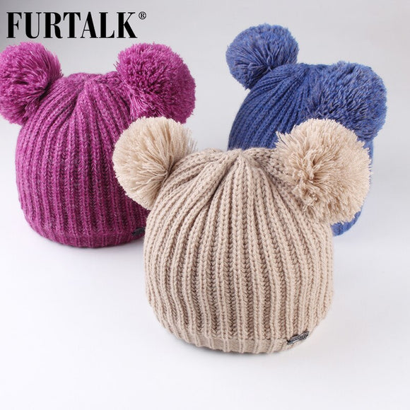 FURTALK Kids Winter Hat Double Pom Pom Hat Baby Boy Girls Knitted Fleece Beane Hat Child Winter Soft Warm Ear Cap Pink Yellow