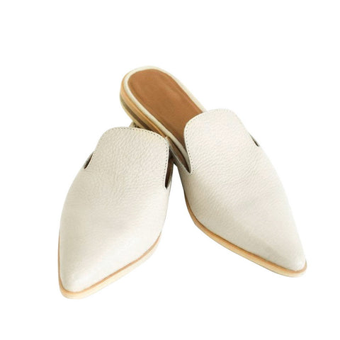 Womens Summer Leather Slip-on Flat Shoe Mules Cogs Indoor Outdoor White Slippers