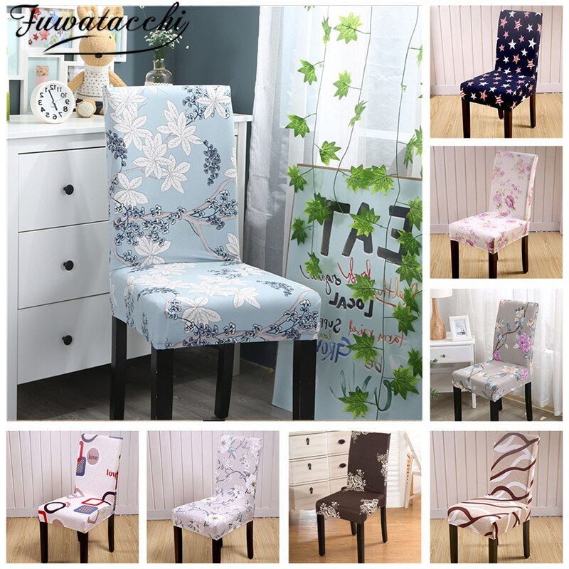 Fuwatacchi Rural Chair Cover Spandex Stretch Elastic Slipcovers Chair Covers Dining Room Kitchen Wedding Banquet Hotel Seat Case