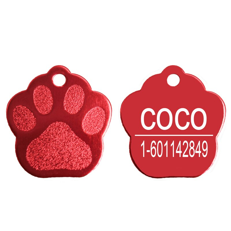 Shimmer Paw Pet Dog ID Tag Personalized Customized Engrave Cat Tags Pets Name Phone No. Nameplate Glitter ID Tag For Puppy