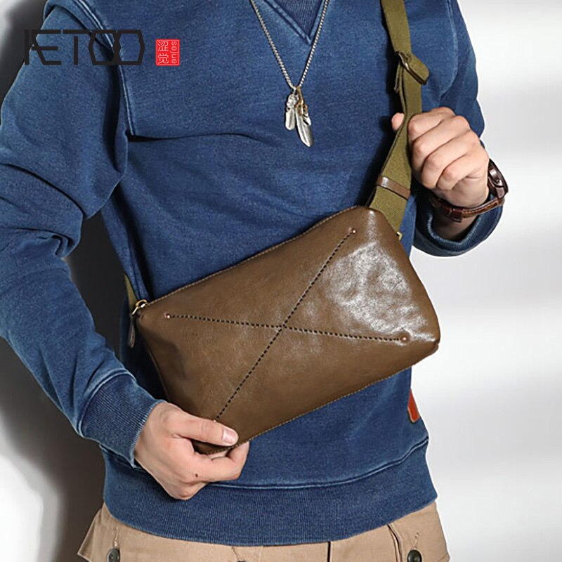 AETOO Hand-stitched leather men's chest bag, horizontal head leather slant bag, men's one-shoulder bag