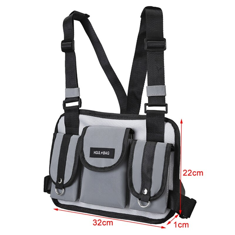 Hotsale Chest Rig Bag Reflective Vest Harness  Front Chest Bag Waist Pouch Backpack Hip Hop Bag
