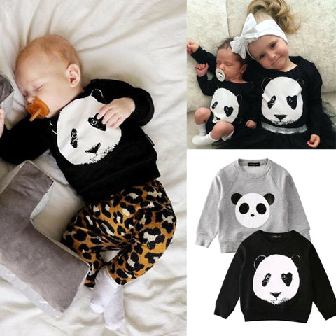 Toddler Kids Baby Girls Boys Tops Cartoon Panda Long Sleeve Sweatshirt Pullover