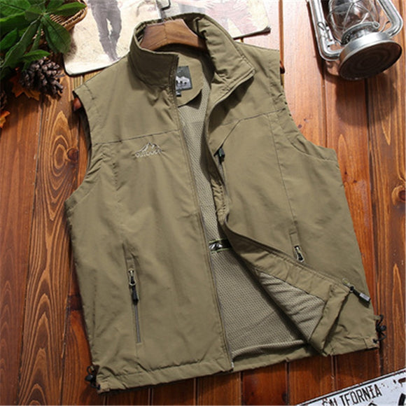 Summer Unloading Tactical Vest Coat Men Photographer Waistcoat Sleeveless Jacket Mens Cargo Fishing Hiking Clothes Plus Size 5XL