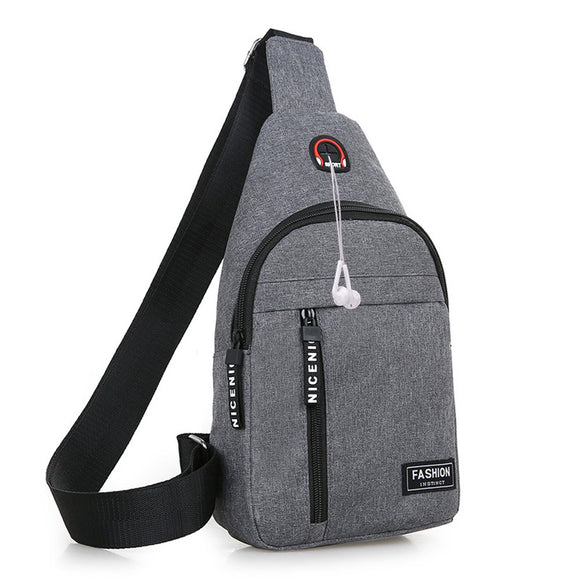 Casual Crossbody Chest Sling Bags for Men Rucksack Canvas Sports Shoulder Bag Male Messenger Handbag with Headphone Hole Mochila
