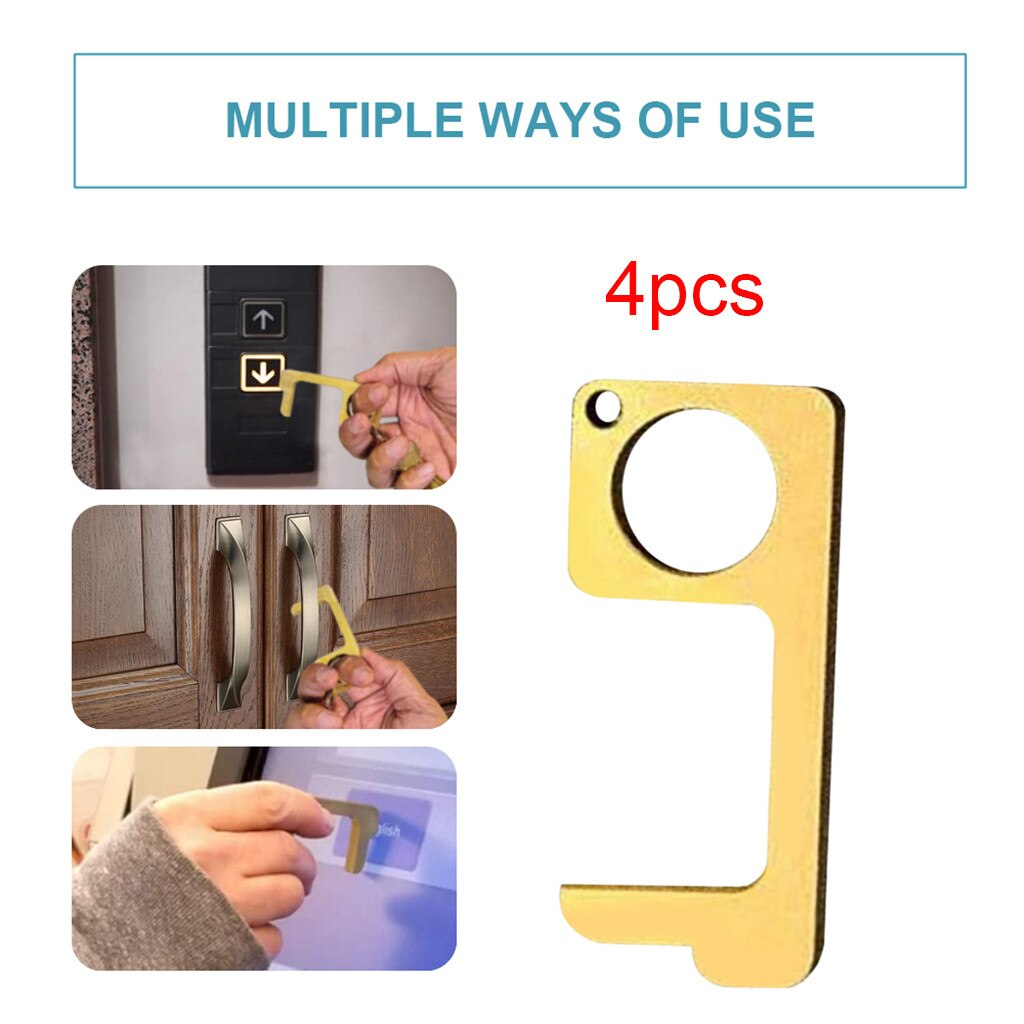 4pcs No Touch Open Door Assistant EDC Door Opener Family Health Convenient Easy to Carry Door Handle Key Dropshipping d3