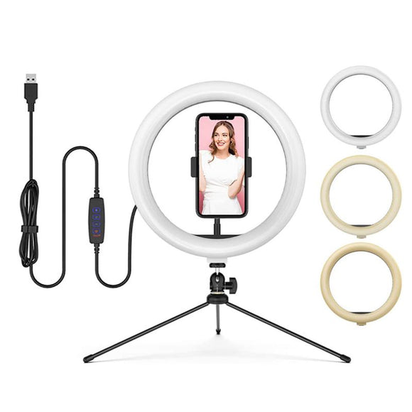 8/10/12 Inch Photography LED Selfie Ring Light 3 Colors Lighting Mode Dimmable Camera Phone Ring Lights For Makeup Video Live